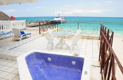 Playa del Carmen condo rental - View of pier from deck.