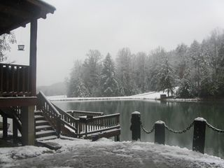 Muddy Pond cabin photo - wintertime cabin and pond