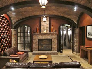 Santa Monica house photo - Wine vaults, fireplace, theater entry