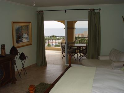 San Jose del Cabo condo rental - Second master suite w/ king bed, private bathroom, opens to terrace, ocean view