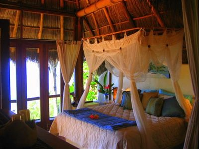 MAIN VILLA's palapa bedroom with surf view (fully enclosed)