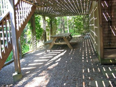 Eastham house rental - Oversize shady picnic and game table for at least 8