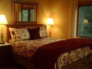 Lake Glenville lodge photo - 2nd Master Bedroom with Queen bed overlooking lake with sitting area (Upstairs)