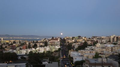 Moonrise from rental over bay and potrero hill