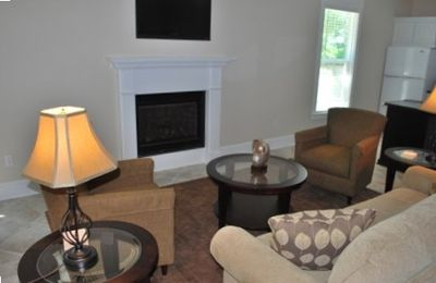 Living Area with Flat Screen TV and Gas Fireplace