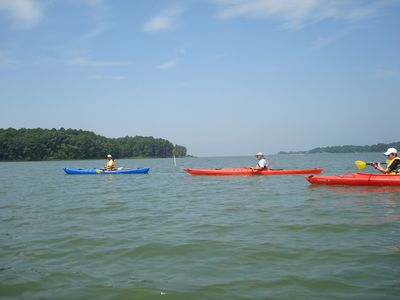 Kayak right off the beach. Arrangements can be made for kayaks to be delivered