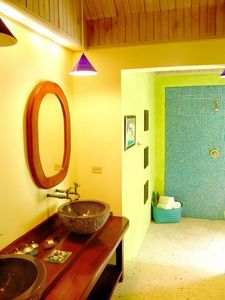 Beautiful and colorful en suite bathroom