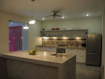 Kitchen with beautiful pasta tile backsplash