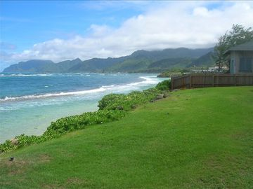Laie house rental - View from the front porch and living room, clear blue water, mountains!