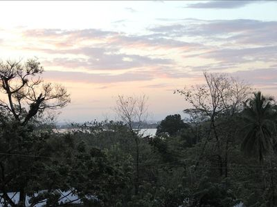 Sunrise over Bocas Town from the balcony