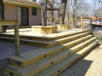 Cedar Creek Lake house rental - Access from Master & Lvg.24' x 24' New deck and tree down lights at night