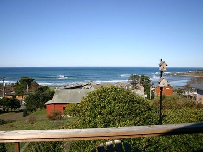 Yachats cottage rental - View from the deck; public access trail to the beach