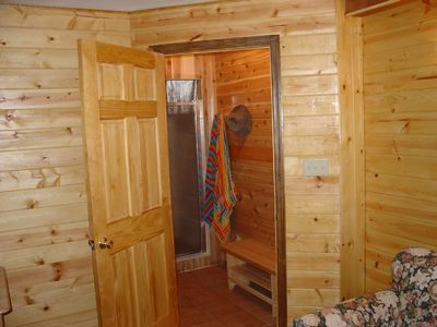 Entrance to sauna and shower - cedar sauna and rain shower for 2 with jets