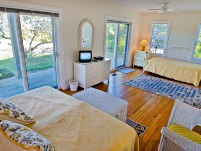Chappaquiddick house rental - Master Bedroom Has King Bed, Day Bed Double Twin Trundle, Sliding Doors To First Floor Deck