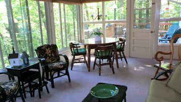 The sun room also has a dining option.