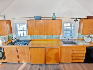 Vineyard Haven cottage photo - Cottage Kitchen Is Well-Equipped For Vacation Entertaining With Under-Counter Sub Zero Refrigeration, Stainless Range & Butcher Block Counters