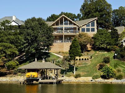 Tellico Lake estate rental - view of back of home from the water
