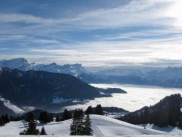 View from Leysin with clouds below in the valley