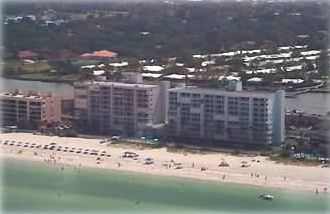 The middle building is Sand Castle II situated on a barrier island