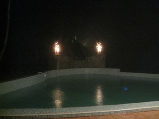 Uvita house photo - Pool with Statues at night