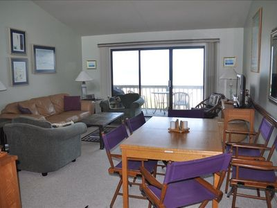 Large Living and Dining Room area with a fantastic view of the ocean and beach.