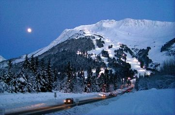 Winter shot of Mt. Alyeska - lodge is 2 blocks (1/4 mile) down from Mtn on right
