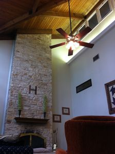 Vaulted natural wood ceiling.
