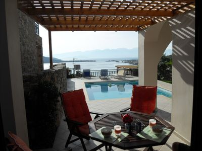 Elounda villa rental - A great place for alfresco breakfast whilist enjoying the view.