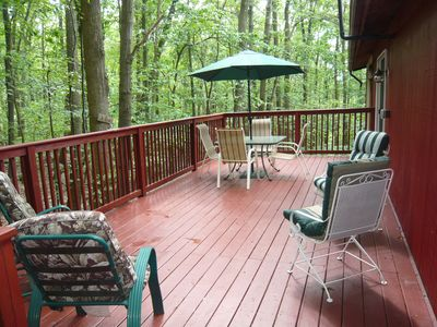 expansive deck surrounded by woods