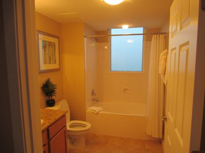 Master Bath with sky light window.