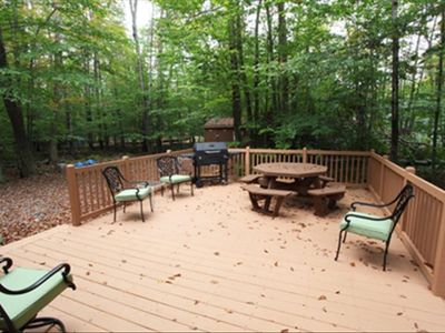 Huge deck and charcoal grill