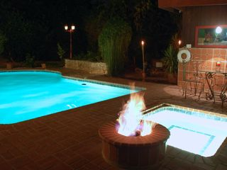San Fernando house photo - Backyard spa, pool, firepit, grill, table
