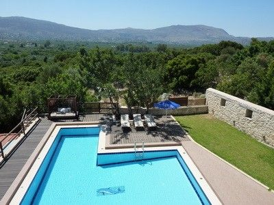 Kalives villa rental - The lovely pool & garden with views