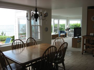 Combined dining room / kitchen. Table expands for larger parties.