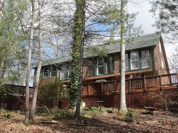 Fletcher cottage rental - Post and Beam home with wraparound deck and hot tub.