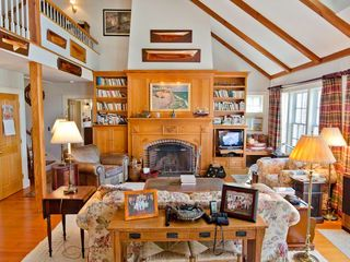 Chilmark house photo - Living Area Features Fireplace With Antique Pine Built-ins