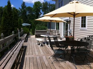 Williams Bay house photo - Big deck, charcoal grill and plenty seating.