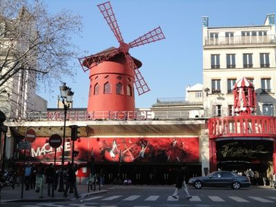 9th Arrondissement Opera apartment rental - The famous Moulin Rouge at the top of the street!