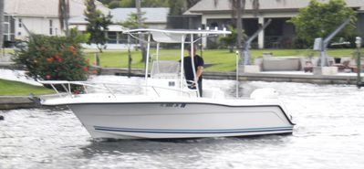 24' center console boat with johnson 200hp available for an additional charge.