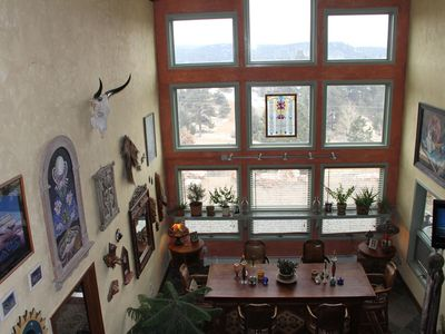 View of dining room from upstairs loft - check out the mountain views