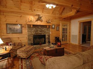 Great Room with Log Burning Fireplace - Wears Valley cabin vacation rental photo