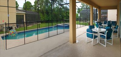 Heated Pool/Spa with 18 pieces of Patio furniture including Bar and BBQ Grill