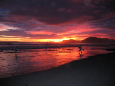 Spectacular sunsets when the surfers get the last waves