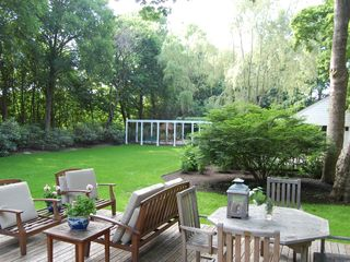 Bridgehampton house photo - lawn leads to rose arbor & pool, next to nature preserve. croquet!
