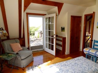 Gayhead - Aquinnah house photo - Queen guest room, door to upper deck, waterview