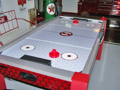 Air hockey is one of several games in the Activities Building.
