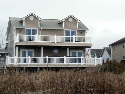 picture from beach with new vinyl railings