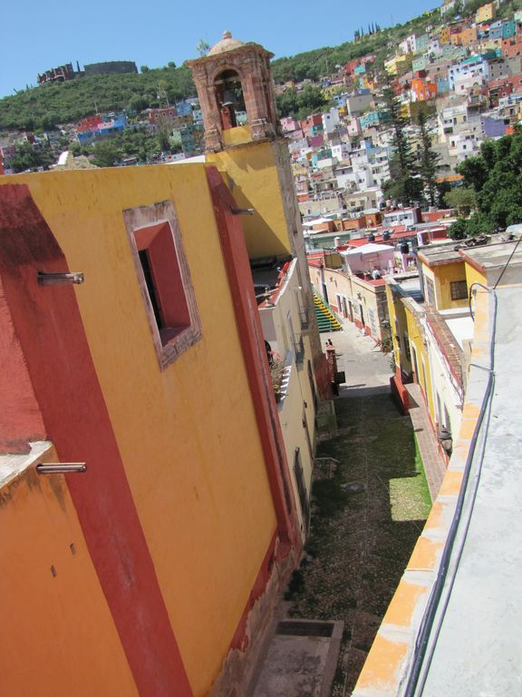 View from roof to street leading to San Roque Plaza