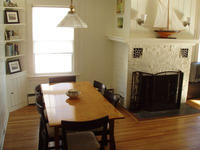 Dining room area and fireplace.
