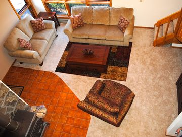 Pagosa Springs condo rental - View from the loft into the living area.